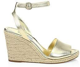 Prada Women's Metallic Leather Wedge Espadrille Sandals