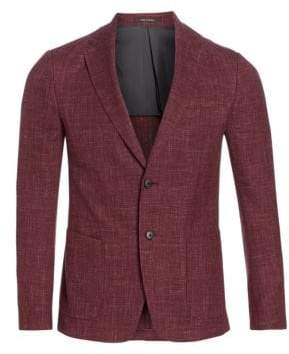 Ermenegildo Zegna Men's Single-Breasted Linen, Wool& Silk Jacket - Merlot - Size 44 (34) R