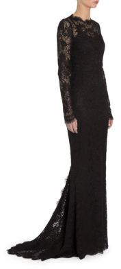 Long-Sleeve Open-Back Lace Gown