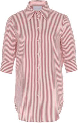 Luisa Beccaria Striped Cotton-Blend Button-Up