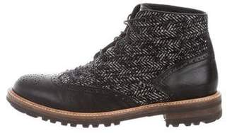 DSQUARED2 Leather & Wool Wingtip Boots