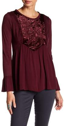 Jolt Embroidered Velvet Bib Blouse