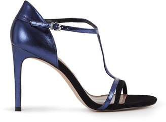 Reiss Our last order date for Christmas has now passed CONSTANCE T-BAR HEELED SANDALS Navy