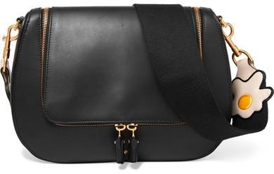 Anya Hindmarch - Vere Canvas-trimmed Leather Shoulder Bag - Black