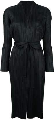 Pleats Please Issey Miyake long belted cardigan