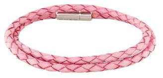 Tateossian Scoubidou Pink Leather Double Wrap Bracelet