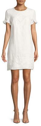 Karl Lagerfeld PARIS Ruffled Short-Sleeve Linen Dress