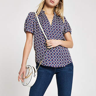 River Island Womens Navy geo print frill V neck shell top