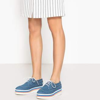La Redoute Collections Denim Brogues with Striped Platform Sole