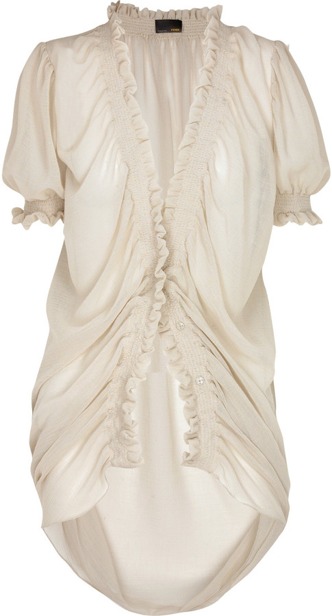 Fendi Sheer ruched cotton blouse