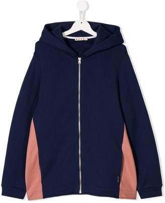 Marni TEEN colour block zip hoodie