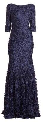Theia Women's Petal Boat-Neck Gown - Navy - Size 14