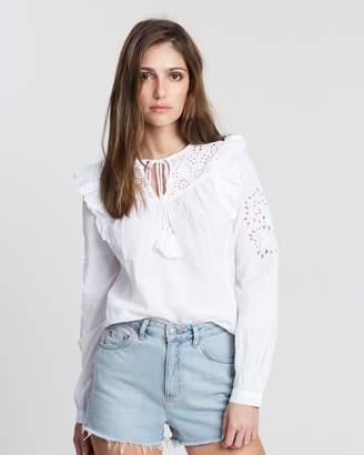 Dorothy Perkins Broderie Frill Long Sleeve Blouse