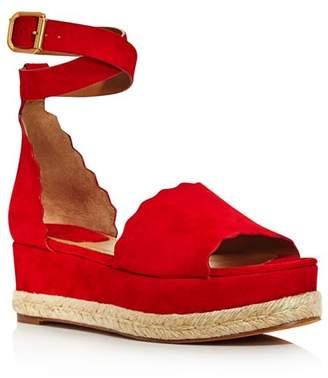 Chloé Women's Lauren Suede Espadrille Platform Sandals