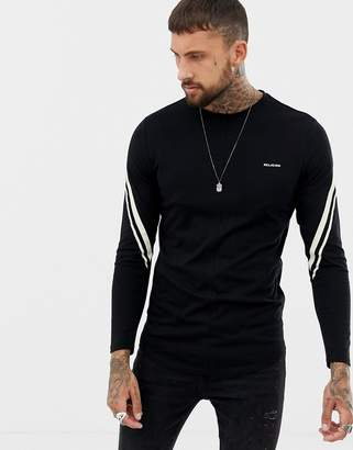 Religion long sleeve top with contrast taping