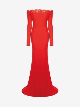 Alexander McQueen Off-The-Shoulder Evening Dress