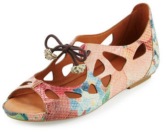 Gentle Souls Brynn Snake-Embossed Lace-Up Sandal $179 thestylecure.com