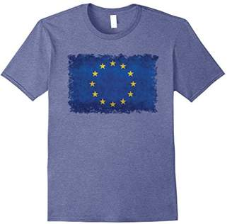 European Flag T-Shirt with Distressed textures and edges
