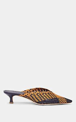 Barneys New York Women's V'd-Throat Woven Leather Mules - Mustard