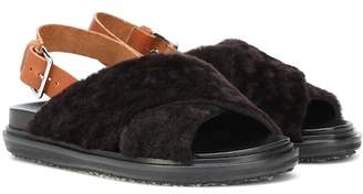 Marni Leather and lamb fur sandals