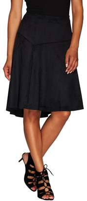 Halston H By H by Faux Suede Skirt with Hi-Low Hem