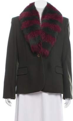 Versus Fur-Trimmed Wool Blazer