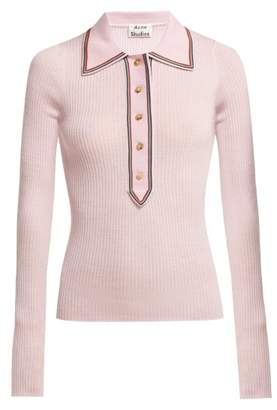 Acne Studios Contrast Trim Long Sleeved Wool Polo Shirt - Womens - Light Pink