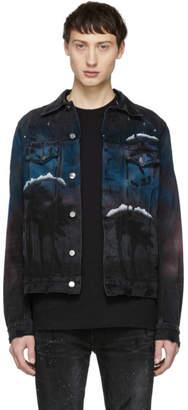 Amiri Black Denim Airbrush Trucker Jacket