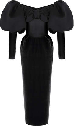 Rasario Puff Sleeve Satin And Velvet Corset Midi Dress