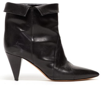 Isabel Marant Larel Leather Ankle Boots - Womens - Black