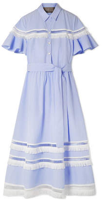 Lela Rose Fringed Lattice-trimmed Striped Cotton-poplin Midi Dress - Light blue