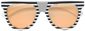 Calvin Klein striped frame sunglasses