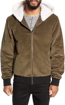 Twenty Champlain Cotton Corduroy & Faux Shearling Hooded Bomber Jacket
