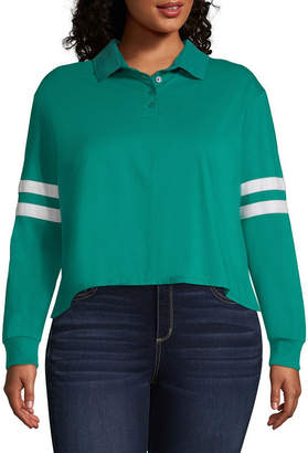 Arizona Long Sleeve Knit Polo Shirt - Juniors Plus