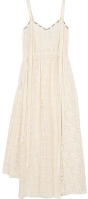 Loewe Logo-print Cotton-blend Lace Midi Dress - Ivory