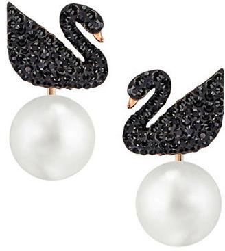 Swarovski Iconic Swan 18K Rose Goldplated Ear Jackets $99 thestylecure.com