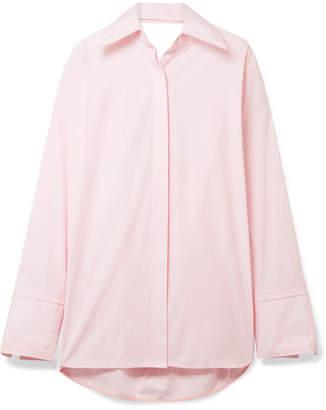 Helmut Lang Oversized Cutout Cotton-poplin Shirt - Pastel pink