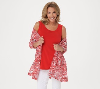 Susan Graver Printed Novelty Knit Cardigan and Knit Tank Set