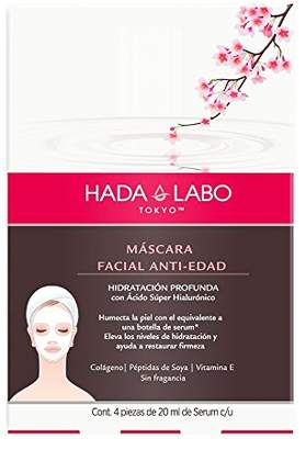 Hada Labo Tokyo Anti-Aging Facial Sheet Mask 4 masks 2.8 Fl. Oz each - with Super Hyaluronic Acid and Vitamin E - 10 minutes at home facial