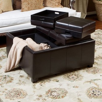 Noble House Nathan Bonded Leather Espresso Tray Top Storage Ottoman