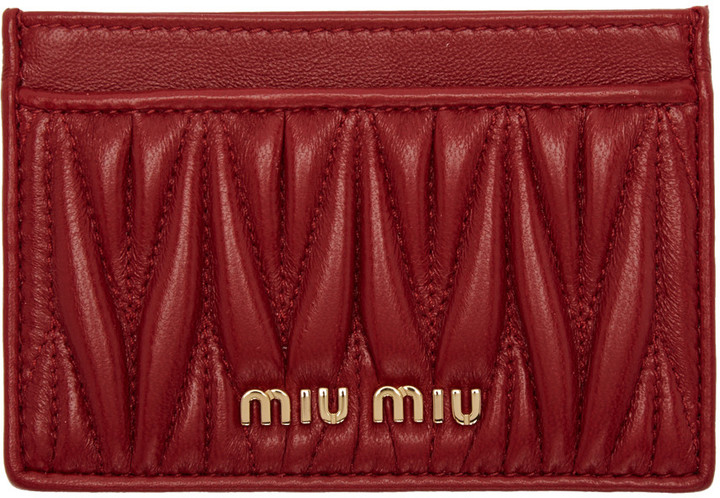 Miu Miu Miu Miu Red Matelassé Card Holder