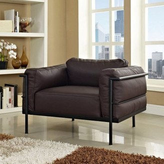 Modway Furniture LC3 Leather Armchair with Steel Frame, Multiple Colors