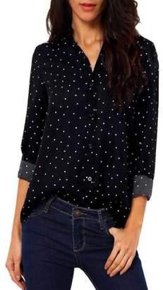 cd101fa5a9b4b GONKOMA Women Casual Blouse Shirt Long Sleeve Chiffon Polka Dot Tops Blouse  T Shirt (S