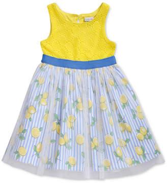 Sweet Heart Rose Glitter-Mesh Lemon-Print Crochet Dress, Little Girls