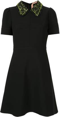 No.21 embroidered collar dress