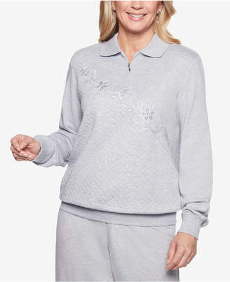 Alfred Dunner At Ease Embellished Quarter-Zip Sweatshirt
