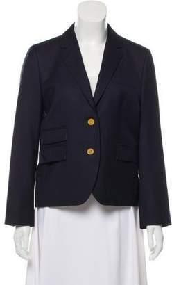 Black Fleece Wool Notch-Lapel Blazer