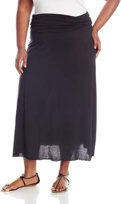 Star Vixen Women's Plus-Size Foldover Waist Solid Maxi Skirt