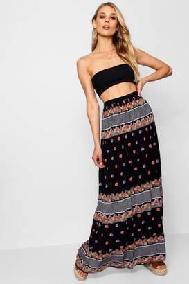 boohoo Cheesecloth Printed Maxi Skirt