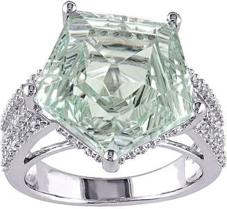 FINE JEWELRY Genuine Green Amethyst and White Topaz Sterling Silver Ring